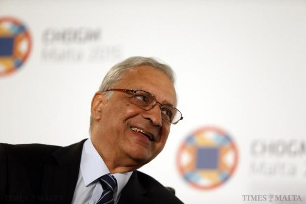 Commonwealth Secretary-General Kamalesh Sharma takes part in a joint news conference with Maltese Prime Minister Joseph Muscat (not pictured) before the Commonwealth Heads of Government Meeting (CHOGM), in St Julian's on November 25. Photo: Darrin Zammit Lupi