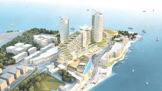 An artist's impression of how the towers would look overlooking the bay, by MYGG Architecture.