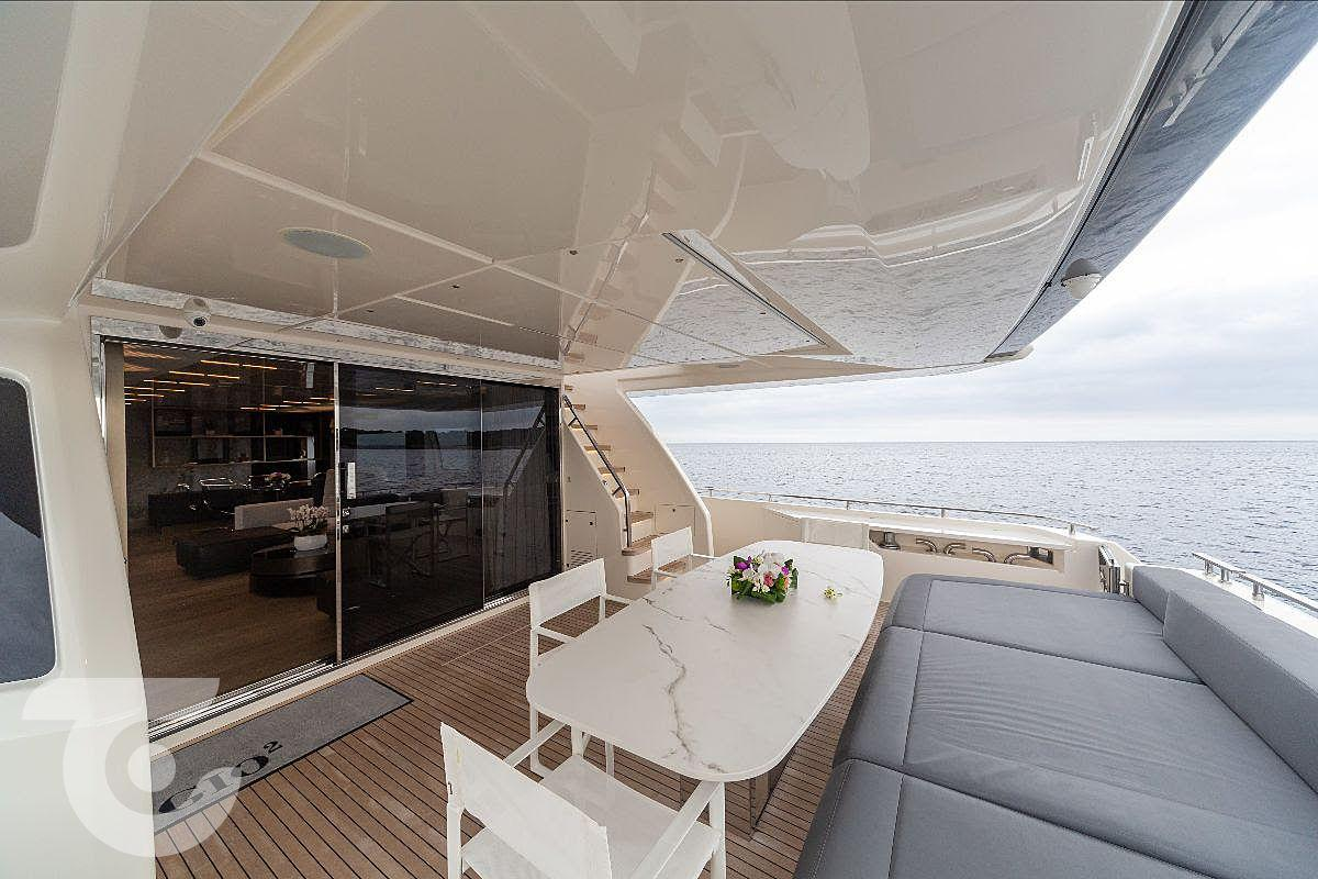 One of the sun lounges on board the 26-metre Gio 2, which is on sale for €4 million. Photo: Superyacht Times