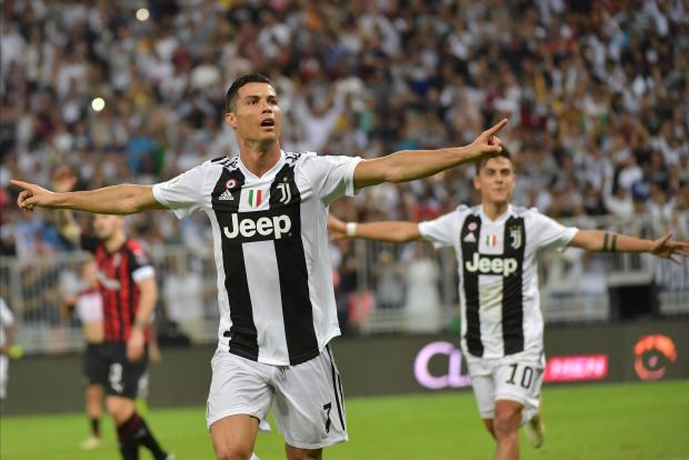 Juventus' Portuguese forward Cristiano Ronaldo celebrates his goal during their Supercoppa Italiana final.