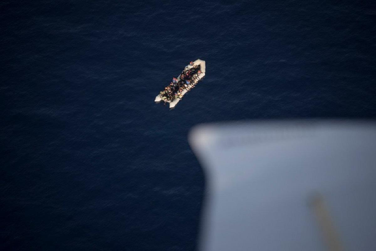 A dinghy carrying 71 people spotted in the Maltese SAR zone. Photo: Sea Watch.