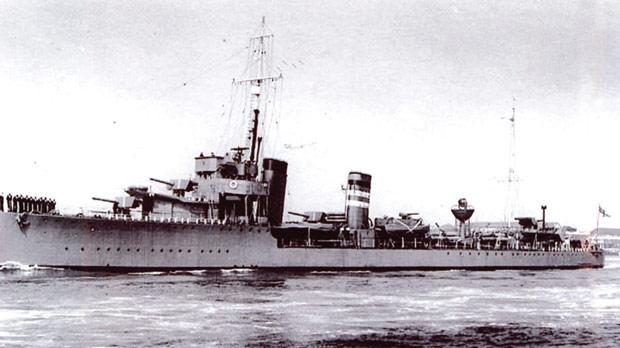 P.O. Micallef's first ship, the destroyer HMS Keppel, in which he served from 1925 to 1926.