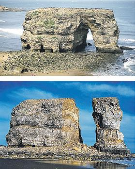 The collapse of the Marsden Rock arch in South Shields, United Kingdom.