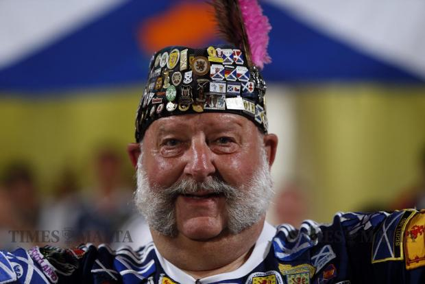 A Scottish fan arrives at the National Stadium for the 2018 World Cup qualifier between Malta and Scotland at Ta' Qali on September 4. Photo: Darrin Zammit Lupi
