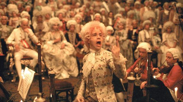 Tom Hulce plays Mozart in Amadeus.