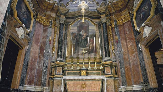 The titular painting of Our Lady of Charity by Attilio Palombi, with the works of Francesco Zahra on either side, at the Oratory of Our Lady of Charity in Valletta. Photo: Jonathan Borg