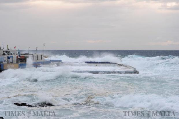 Large north-easterly waves engulf Sliema Pitch as the coast of Malta was battered by strong winds and large waves on October 29. Photo: Steve Zammit Lupi