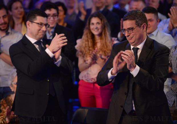 PN Leader Adrian Delia is applauded before taking the stage at the PN headquarters in Pieta on May 13. Photo: Matthew Mirabelli