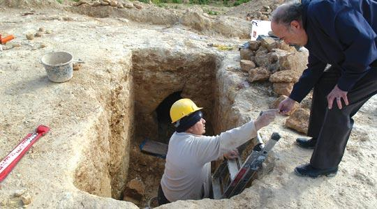 An archaeologist (left) on site with Joe Cassar. Photo: Chris Sant Fournier.