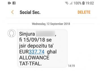 A screenshot of an SMS sent to parents by the Social Services Department.
