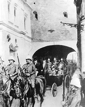 Edward VII being driven through the tunnel next to Customs House.