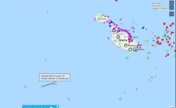 The Lifeline is currently located some 40 miles south east off Malta.