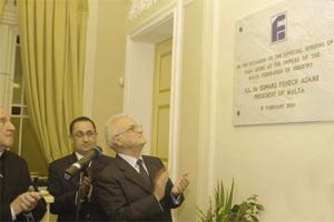 President Eddie Fenech Adami applauds the unveiling of the new FOI premises in Floriana with Archbishop Joseph Mercieca and FOI President Anton Borg looking on