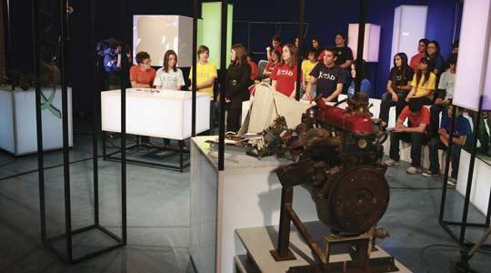 One of the episodes being filmed in the studio.