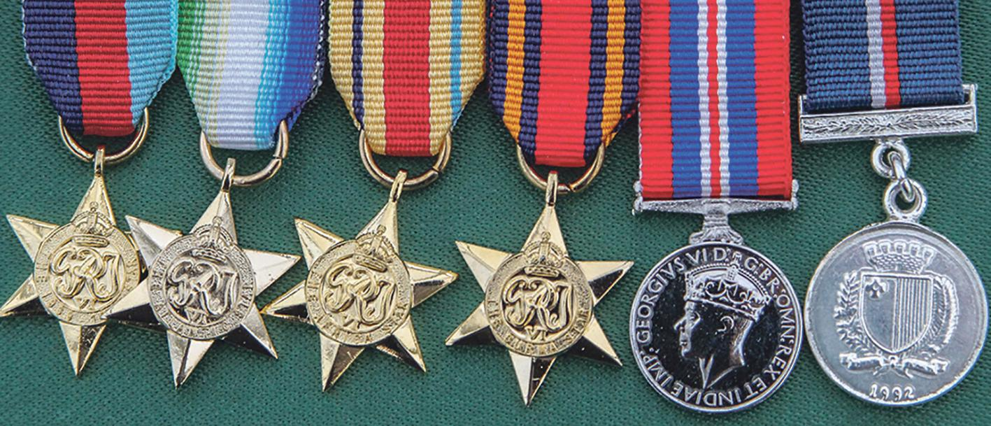 Lewis Kerry's medals, including the 50th anniversary medal.