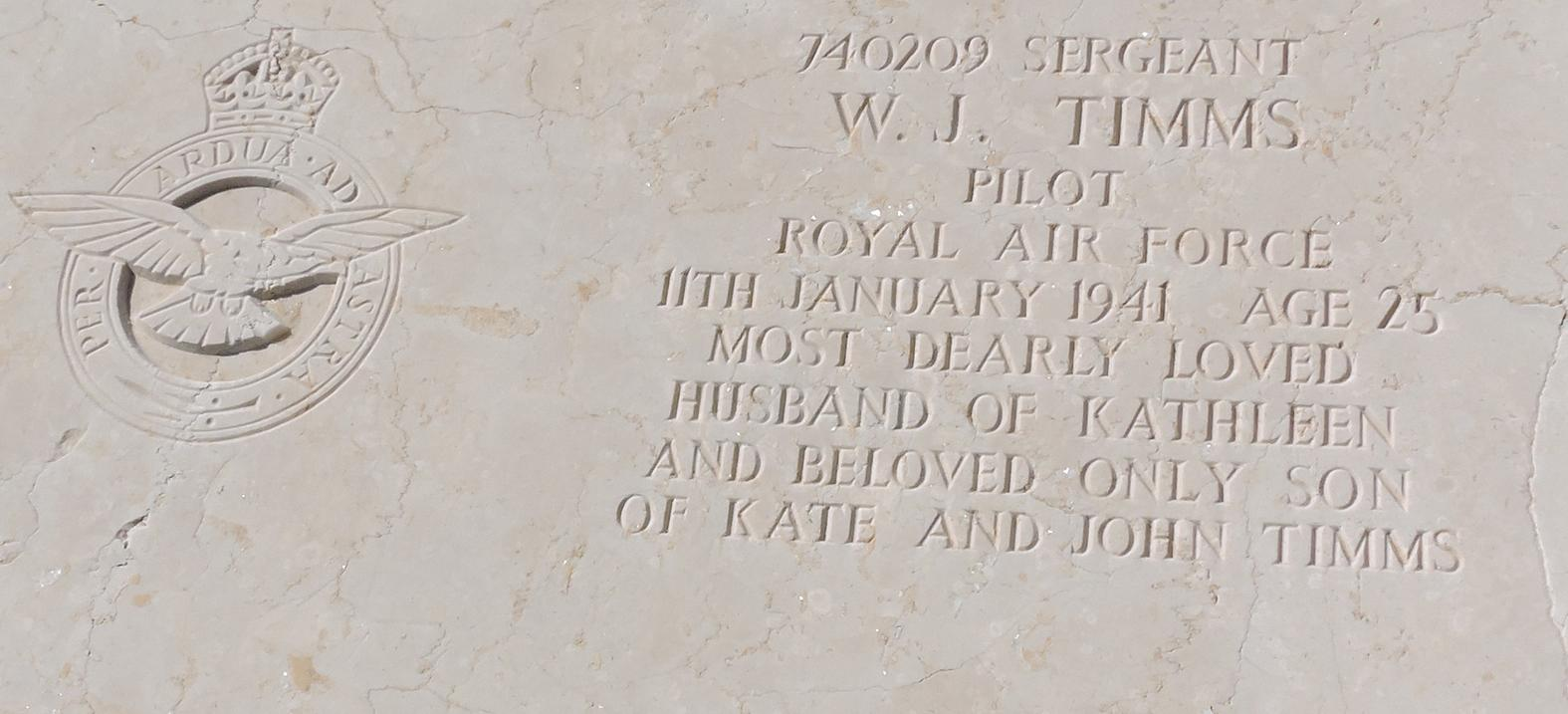 The tomb marble of William John 'Bill' Timms at the Kalkara Capuchins Cemetery (CWGC). Source: Author's Collection