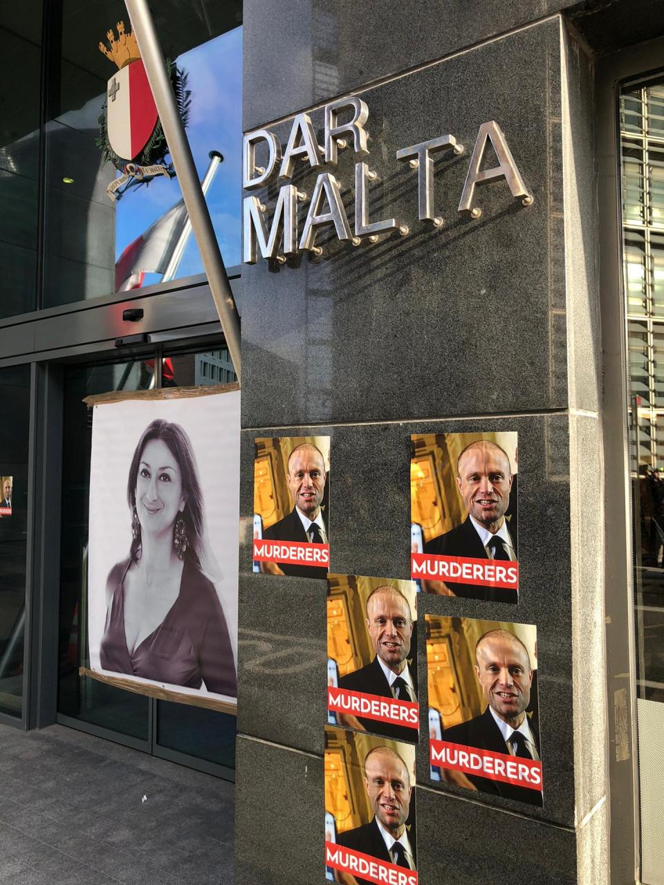 Protests outside Malta's Embassy in Brussels