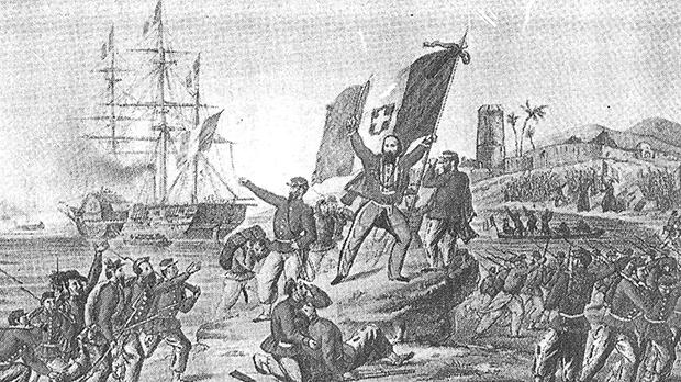 A contemporary lithograph showing Garibaldi's virtually unopposed landing at Marsala, Sicily, in 1860. Garibaldi is here seen bearing the flag of Vittorio Emmanuele II – the tricolour red, white and green of revolutionary Italy, on which is superimposed the white cross of the House of Savoy.