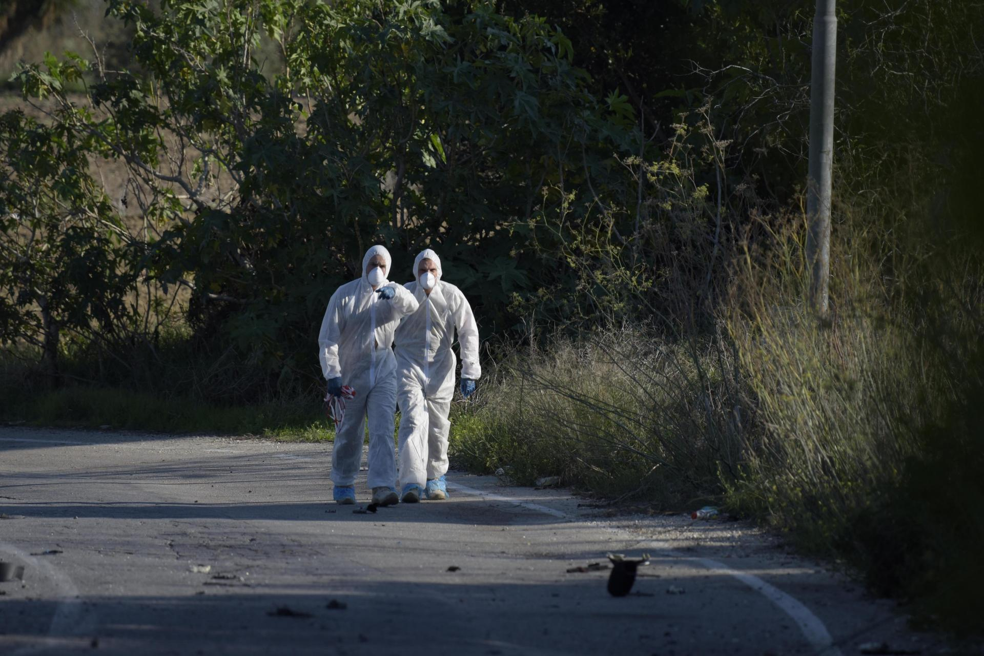 The scene of Daphne Caruana Galizia's murder in October, 2017. Photo: Mark Zammit Cordina