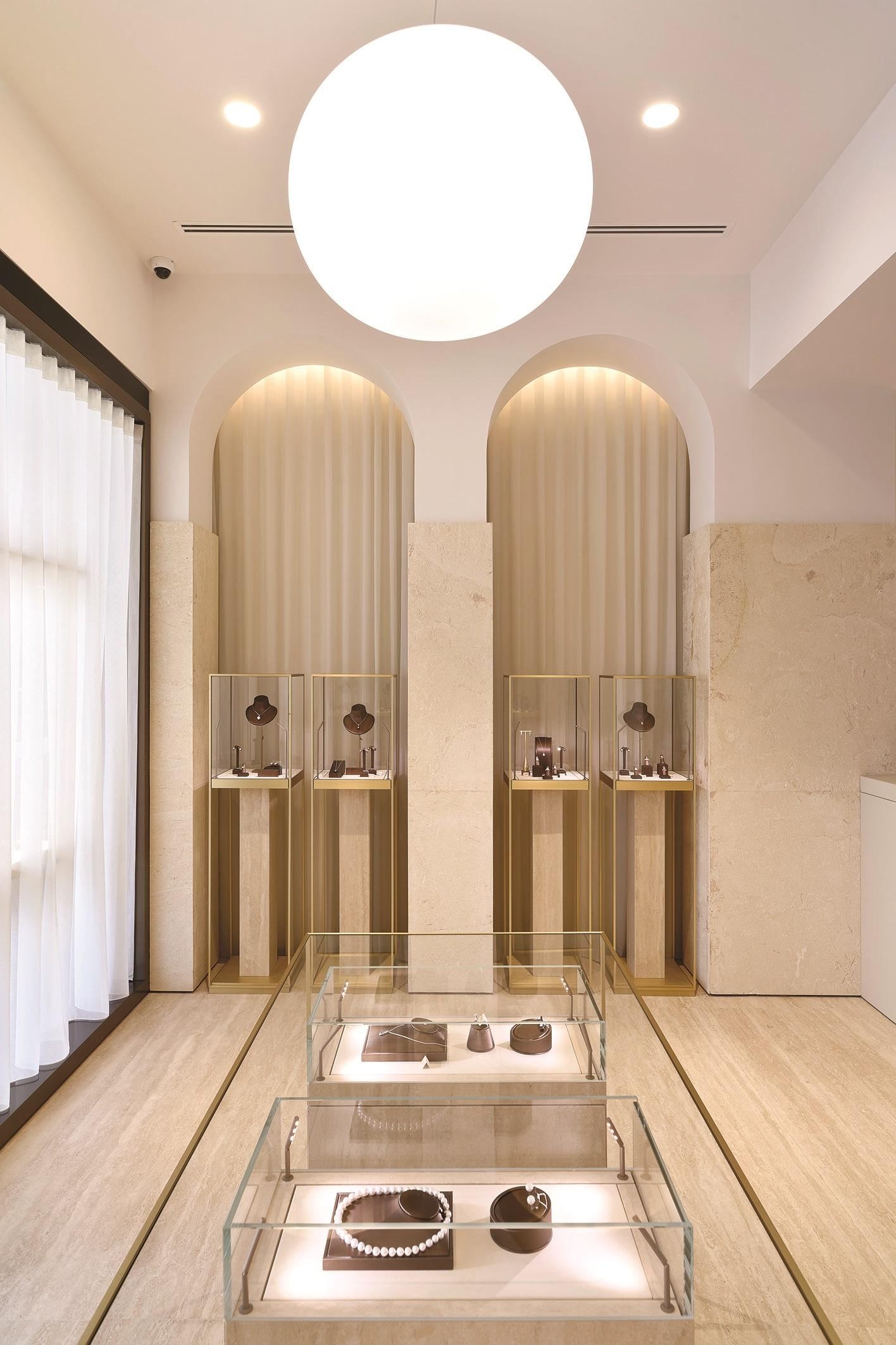 Art Diamond, Sliema: a jewellery store designed to resemble art spaces with archways, diffused light and plinthed vitrines replacing crowded product display. Photo: Alex Attard