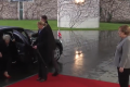 Watch: Theresa May locked in car as Angela Merkel looks on