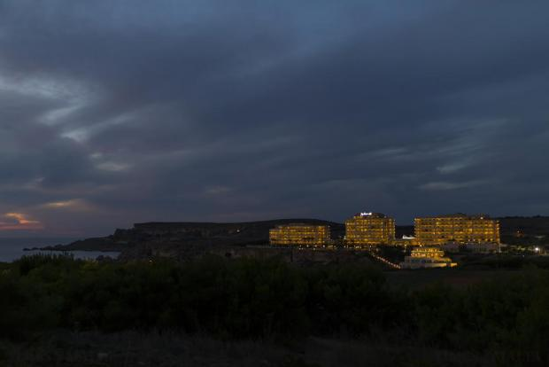 The Radisson Blu Resort and Spa at Golden Sands is seen at dusk on October 25. Photo: Darrin Zammit Lupi