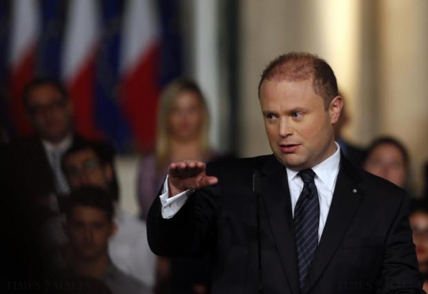 Prime Minister Joseph Muscat addresses a news conference outside his office at Auberge de Castille after the presentation of the 2016 Budget speech in Valletta on October 12. Photo: Darrin Zammit Lupi
