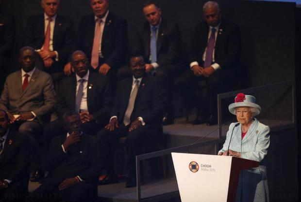 Britain's Queen Elizabeth speaks at the opening ceremony of the Commonwealth Heads of Government Meeting (CHOGM) in Valletta on November 27. Photo: Darrin Zammit Lupi