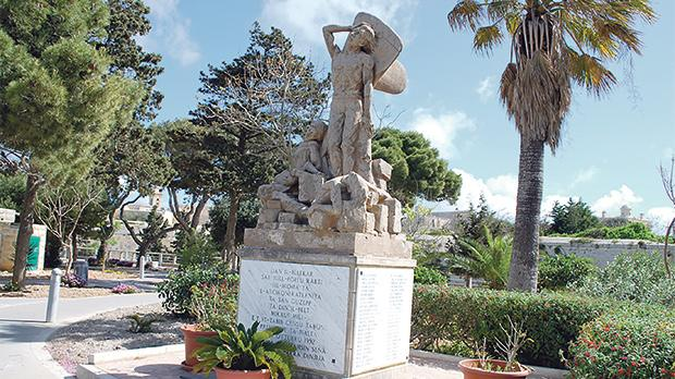 The monument in Howard Garden, Rabat, in honour of the casualties of World War II. The names of the casualities of October 11, 1942, are engraved on it.