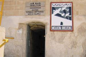The entrance to the World War II shelters at Mellieha, off the Parish Square