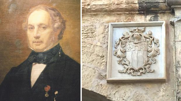 Count Rosario Messina (foreign title) – The Genealogy and Heraldry of the Noble Families of Malta Vol. 2, by Charles Gauci. Right: Arms of the noble family of Inguanez on the main Mdina gate (Barbara Gauci).