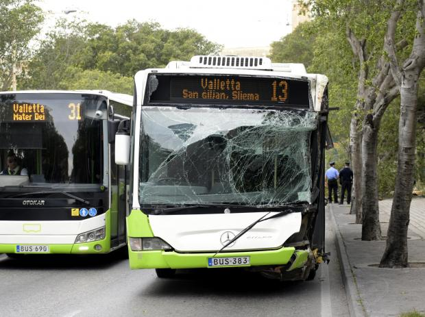 A side of a Malta transport bus is shattered after it hit a tree in Pieta on March 15. Photo: Mark Zammit Cordina