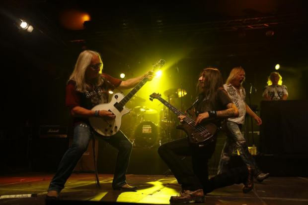 Guitarist Mick Box (left) and bass guitarist Davey Rimmer of British legendary rock band Uriah Heep perform during their concert in Valletta on July 29. Photo: Darrin Zammit Lupi