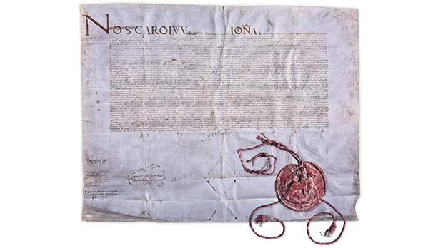 The 1530 Deed of Donation signed by Charles V, National Library of Malta. Malta was practically 'leased' to the Order, being a tiny fragment of Charles V's possessions, which included more than half of Europe and the Americas.
