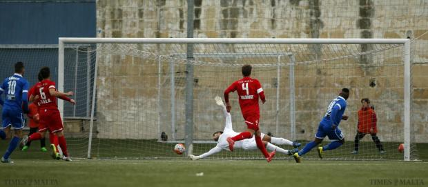 Tarxien Rainbow's Alex Alves Paixao scores past Valletta's goalkeeper Nicky Vella during their Premier League football match at the Tedesco Stadium in Hamrun on January 16. Photo: Darrin Zammit Lupi