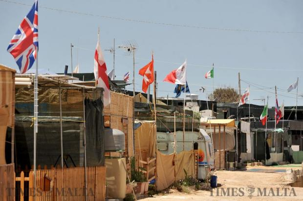 Caravan owners put up flags to show which country they support in the European Cup at Bahar ic-Caghaq on June 22. Photo: Chris Sant Fournier