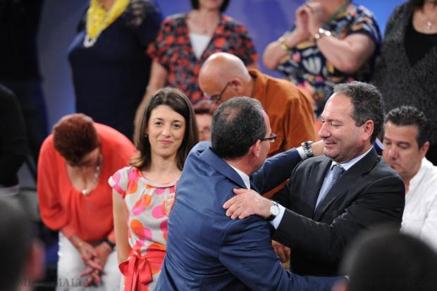 Outgoing PN general secretary Chris Said greets deputy leader Mario de Marco at the PN general council on May 24. Photo: Jason Borg