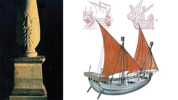 The marble candelabra with a bilingual inscription in Punic and Greek dedicated to Melquart/Herakles discovered at Tas-Silġ. Right: A replica of a vessel from Homer's time used to discover the navigational and archaeological evidence of Ulysses's adventures.