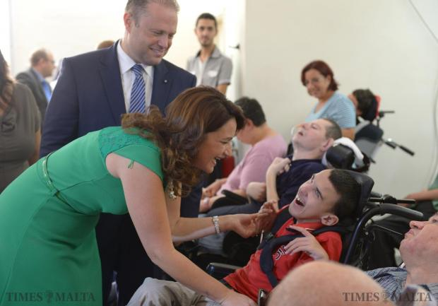 The Prime Minister and Mrs Muscat pay a visit to Dar tal-Providenza in Siggiewi on September 14 to mark the 50th anniversary of the founding of the home for the disabled. Photo: Matthew Mirabelli