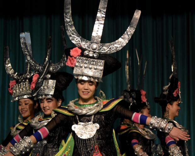 Guizhou Congjiang theatre company perform in a school in Kalkara on January 19 as part of the Happy Chinese New Year celebrations. Photo: Mark Zammit Cordina