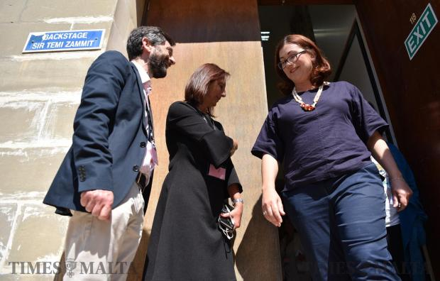 Democratic Party leader Marlene Farrugia walks out from the back door moments after she took part in a political debate held at the University of Malta on May 17. Photo: Mark Zammit Cordina