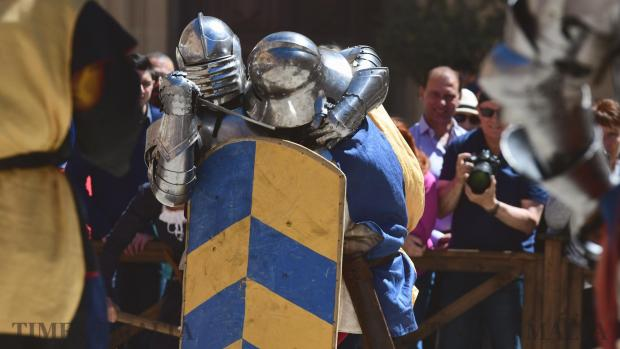 Two men battle it out during Medieval Mdina, a celebration of the ancient city's past on 30 April Photo : Jonathan Borg