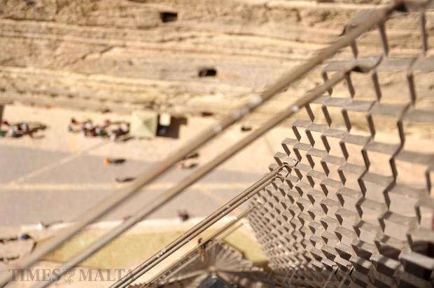 The metal framework enclosing the Barrakka lift is seen on April 20. Photo: Chris Sant Fournier