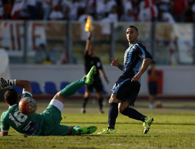 Sliema Wanderers' Michael Mifsud is flagged for offside as he slots the ball past Birkirkara goalkeeper Justin Haber during their Premier League football match at the National Stadium in Ta' Qali on October 18. Photo: Darrin Zammit Lupi
