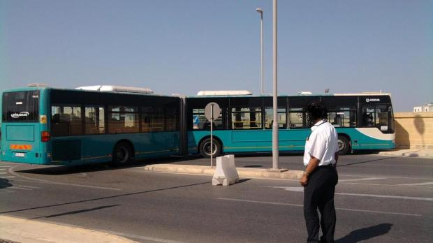 A bendy bus stuck at Mater Dei this morning - Picture David Jones - mynews@timesofmalta.com