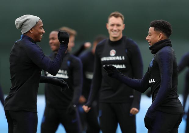 England's Jesse Lingard (right) with Ashley Young during a training session.