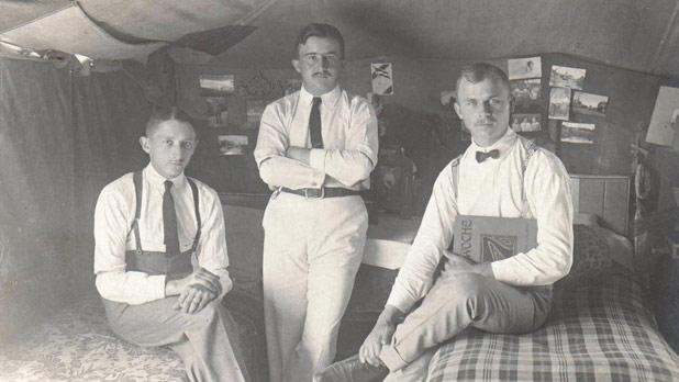 Well-groomed POWs inside their tents. Photo courtesy Tony Camilleri