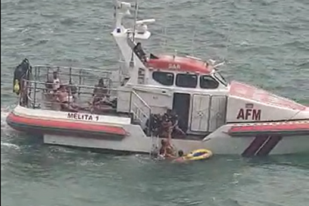 Watch: Woman rescued at sea off Sliema