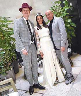 Sue Rossi with designers Charles and Ron and (below) with Claudia Calleja.