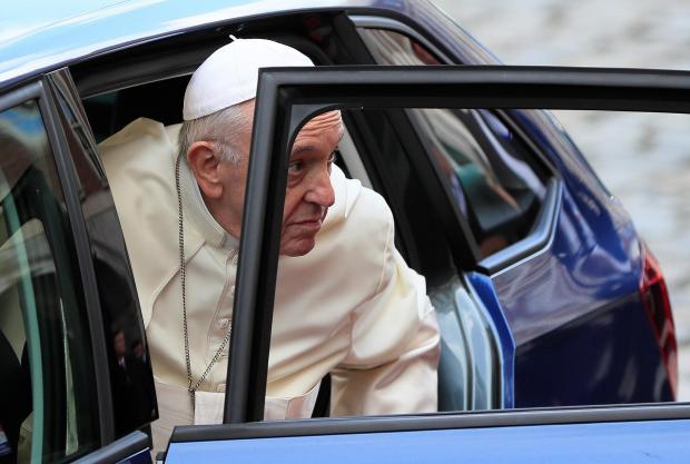 Pope Francis arrives at Dublin Castle during his visit to Dublin.